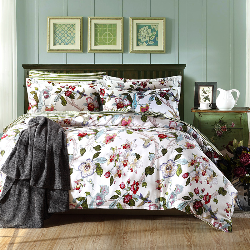 Charming Hummingbird Bed Linen Part - 3: Hummingbird And Flower Bedding Set 4pcs 100% Cotton Duvet Covers Bed Linen  Sets Bedclothes Coverlet
