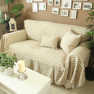 Rustic Fabric Small Plaid 100% Khaki Cotton Quality Sofa Towel Sofa Cover  Cloth Sofa Slipcover