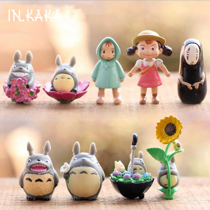 9pcs kawaii cute Anime My Neighbor Totoro micro garden landscape decoration Lawn ornaments figures toys DIY aquarium accessories