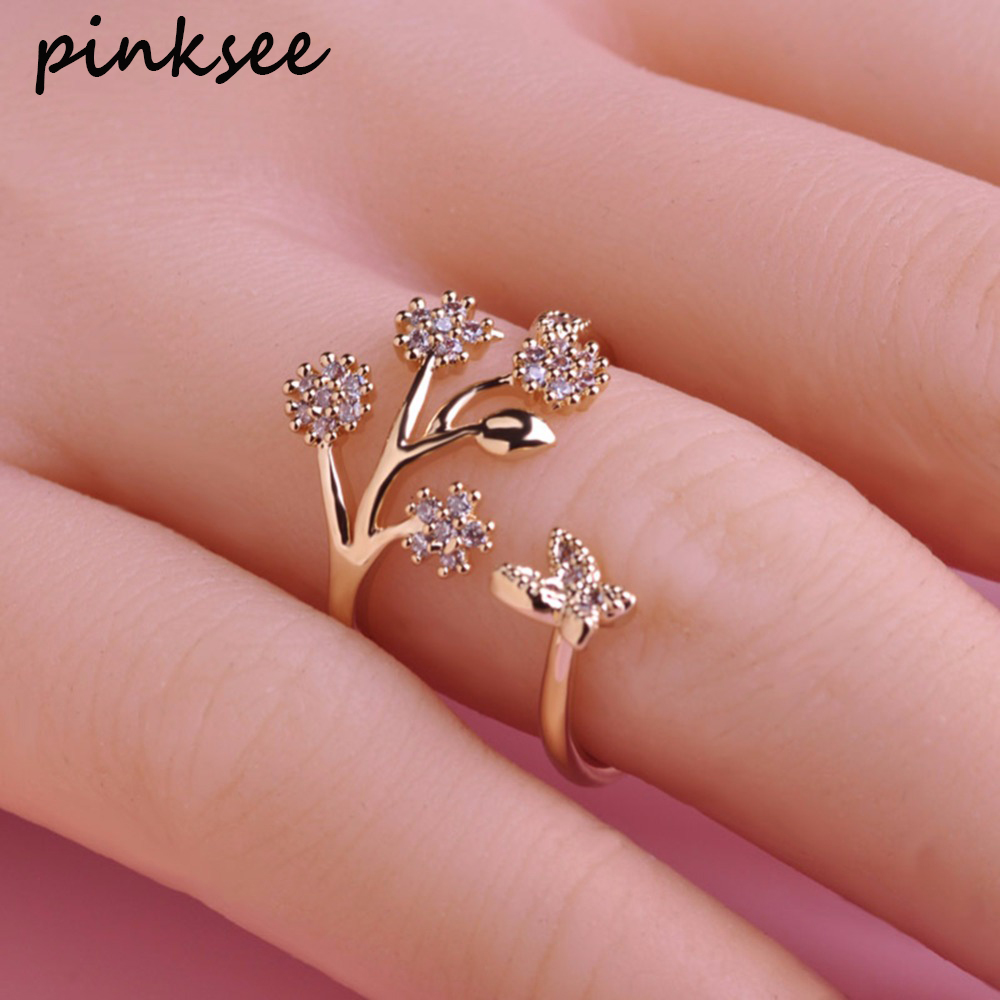 PINKNSEE Fashion Flower Branch Wedding Ring Gold Silver Plated ...