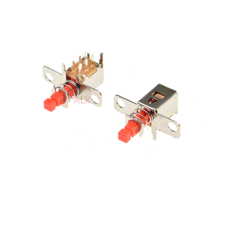 10 шт. с фиксированным отверстием PS-22F03 правый угол PCB Фиксация кнопочный переключатель DPDT двухполюсный 6-контактный самоблокирующийся ключ в...