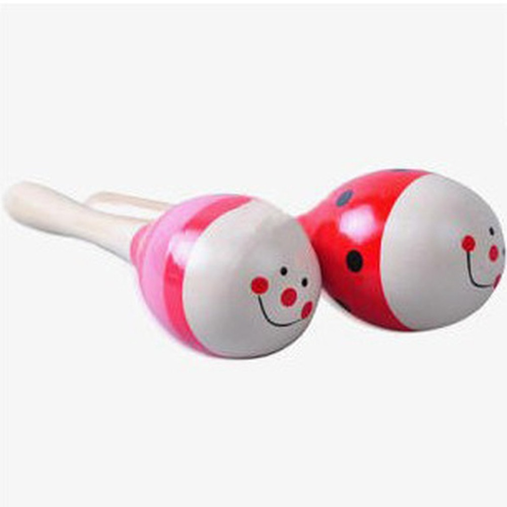Colorful Small Wooden Hammer Cartoon Sand Ball Knock Wooden Bell Baby Educational Toys Orff Instruments
