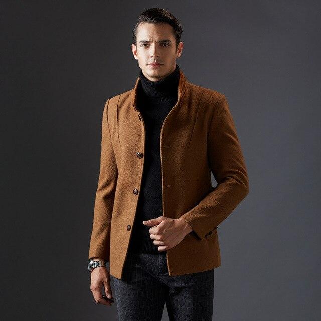 Klassieke Winterjas Heren.Nieuwe Collectie Elegante Stand Kraag Wollen Colbert For A Heren