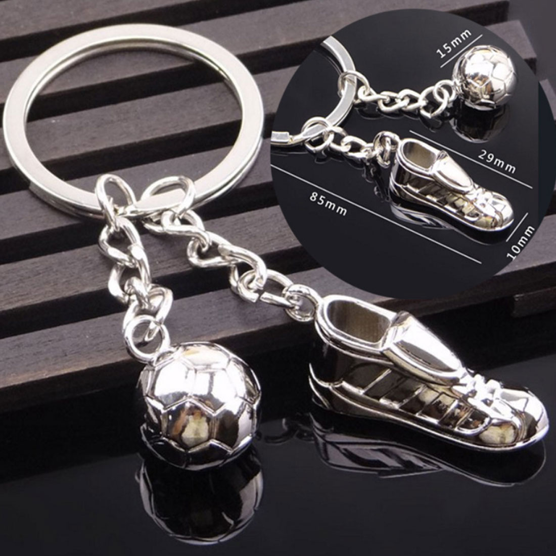 Unique Soccer Shoes Football Ball Stainless Steel Metal Keychain Key Chain Ring Gift Football