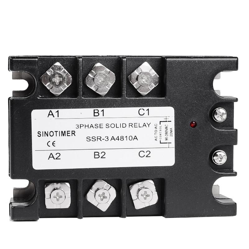 цена на 3 Phase Solid State Relay 80DA AC Output 3-32V DC to 30-480V AC 60A 100A Module Switch Relay relais DC-AC D4860A SINOTIMER