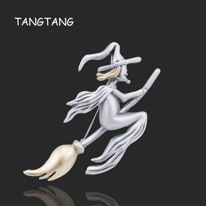 Antique Silver Witch Riding A Broom Painted Yellow Oil With Long Hat Brooch in Flight Magical Halloween Gift Jewelry, BRH1058