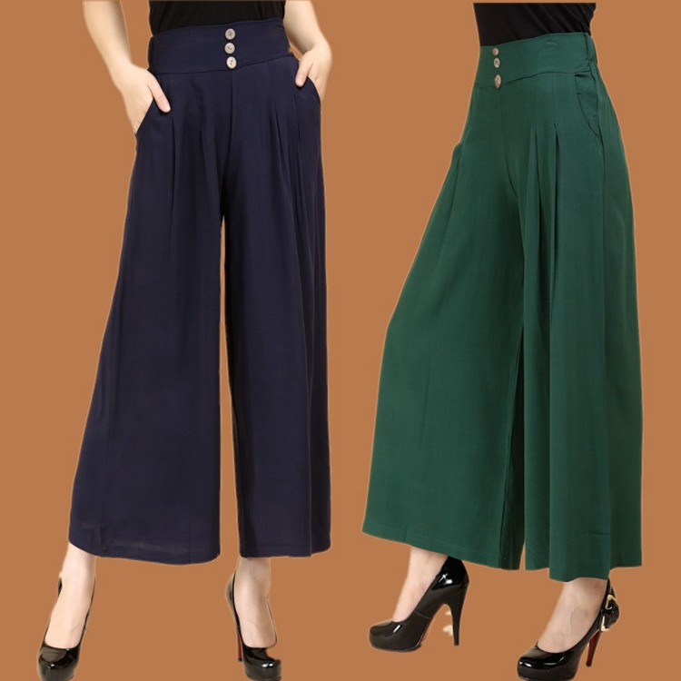 2018 new arrival high waist linen pants women wide legs femme elegant trouse cotton line ...