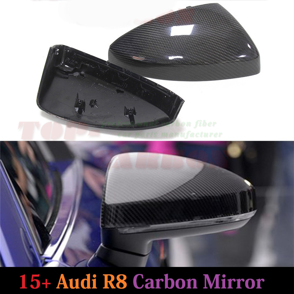 1 1 Replacement for Audi R8 2015 2016 Carbon Fiber Mirror Cover Rear View Without Lane