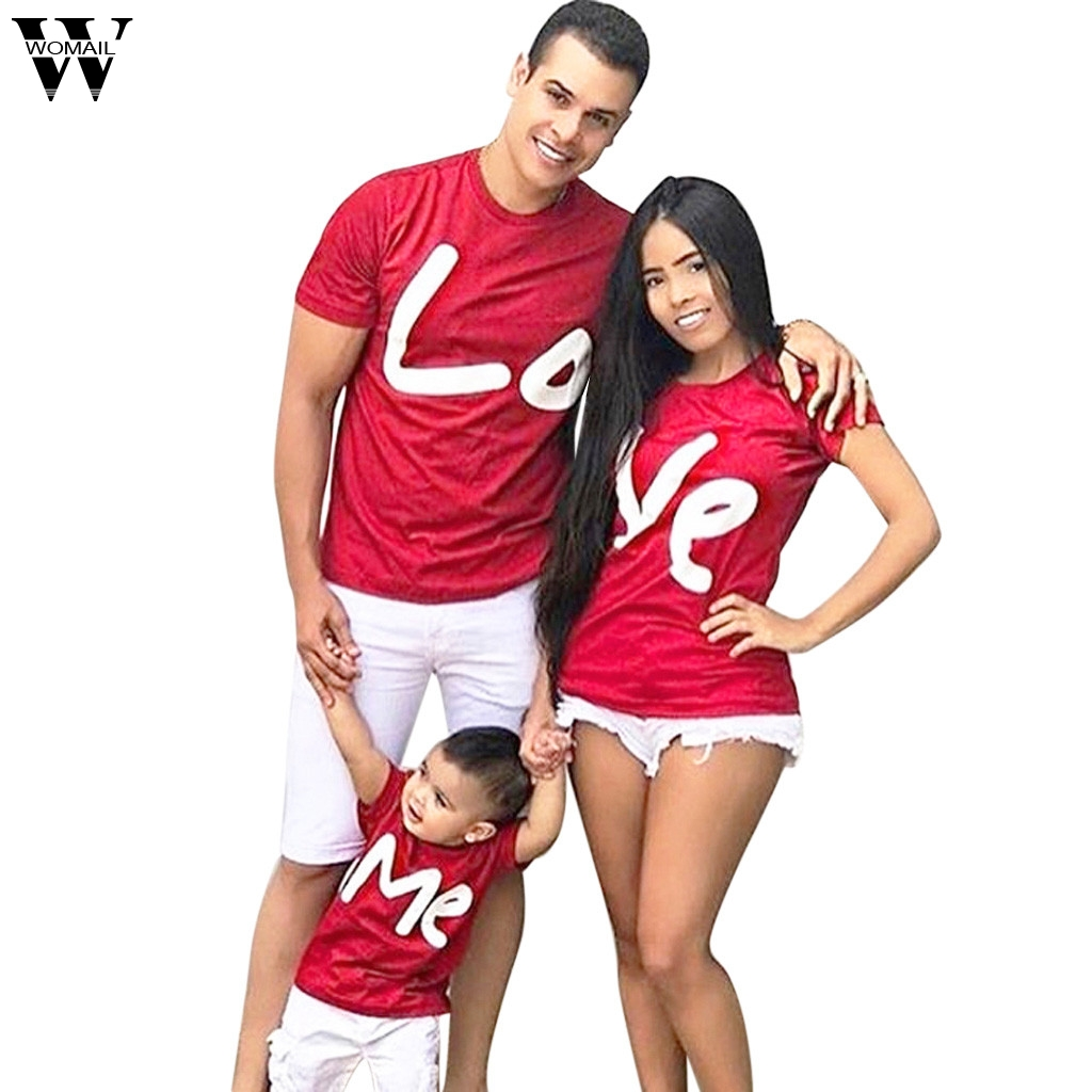 Womail matching family outfits mother Valentine day love letter printed shirt T-shirt love family costumes high quality 2019 new