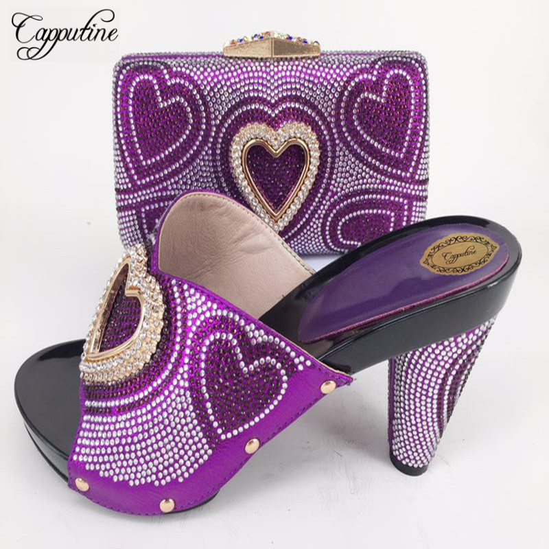 Capputine New Arrival Italian Heart Crystal Ladies Shoes And Bags Set African Style Woman Shoes And Bags Set For Wedding Party capputine european style elegant rhinestone shoes and bags set african style woman high heels shoes and bags for wedding party