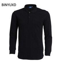 Binyuxd, брендовая мужская с длинным рукавом мужские рубашки Новая Мода 2017 г. S-XXXL осень-зима хлопок Повседневная рубашка поло для мужчин Розничная продажа