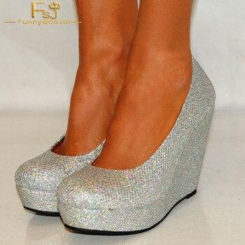 FSJ Women Shoes Ladies Pumps  2018 Spring Autum Silver Closed Toe Wedges Glitter Round Toe Platform Big Size Shoes41 42 43