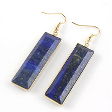 100-Unique 1 Pair High Quality Gold Color Lapis Lazuli Section Rectangle Earrings Elegant Women's Earring Fashion Jewelry