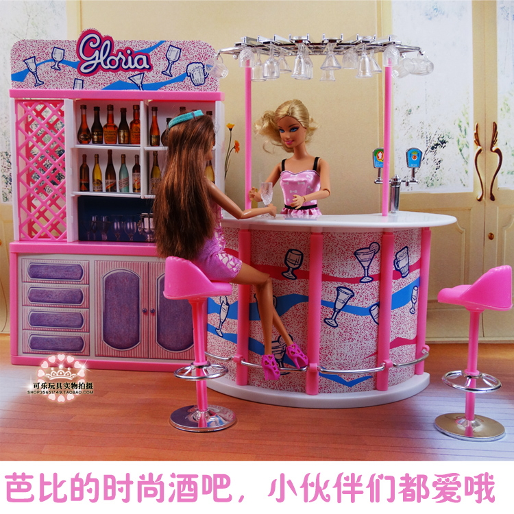 For Barbie House Mini Furniture Happy Hour Relax Time Fashion Pink Bar Suit For Kurhn Licca Blyth Doll Pretend Play Toys 1/6