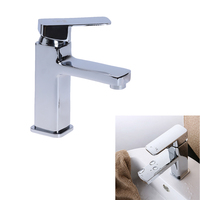 Wholesale And Retail Modern Design Basin Mixer Tap Chrome Bathroom Sink Basin Faucet Square Vanity Sink