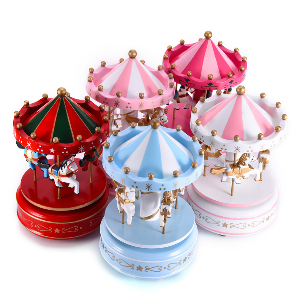 Newest Design Wooden Carousel <font><b>Music</b></font> Box For Kids Baby Girlfriend Toys Carousel Horse <font><b>Music</b></font> Boxes Christmas Birthday Wedding Gift