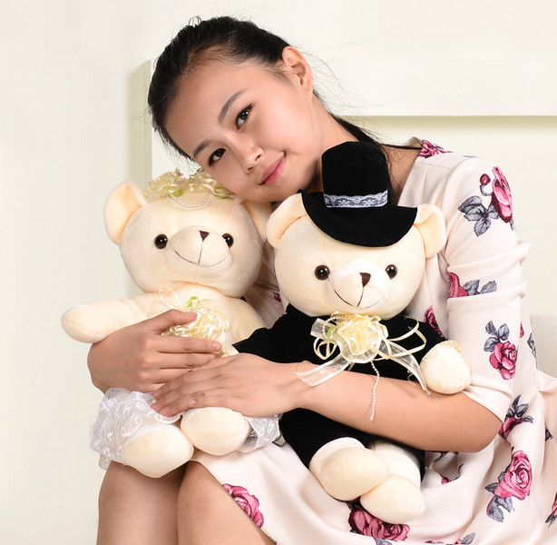 1pair 40cm teddy bear plush toy, teddy bear wedding doll, teddy bear stuffed animal doll wedding gift 2 receivers 60 buzzers wireless restaurant buzzer caller table call calling button waiter pager system