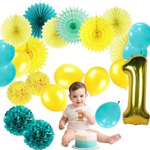 23pcs Birthday Party Decorations Kids Boy Baby Shower 1st Blue Green Yellow pompoms Paper Fans Balloons Balls Event Decoration