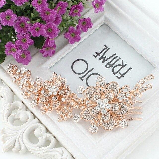 Bella Fashion Flower Leaf Bridal Hair Comb Austrian Crystal Rhinestone Wedding  Headpiece For Bridesmaid Party Jewelry 3e39d50b7207