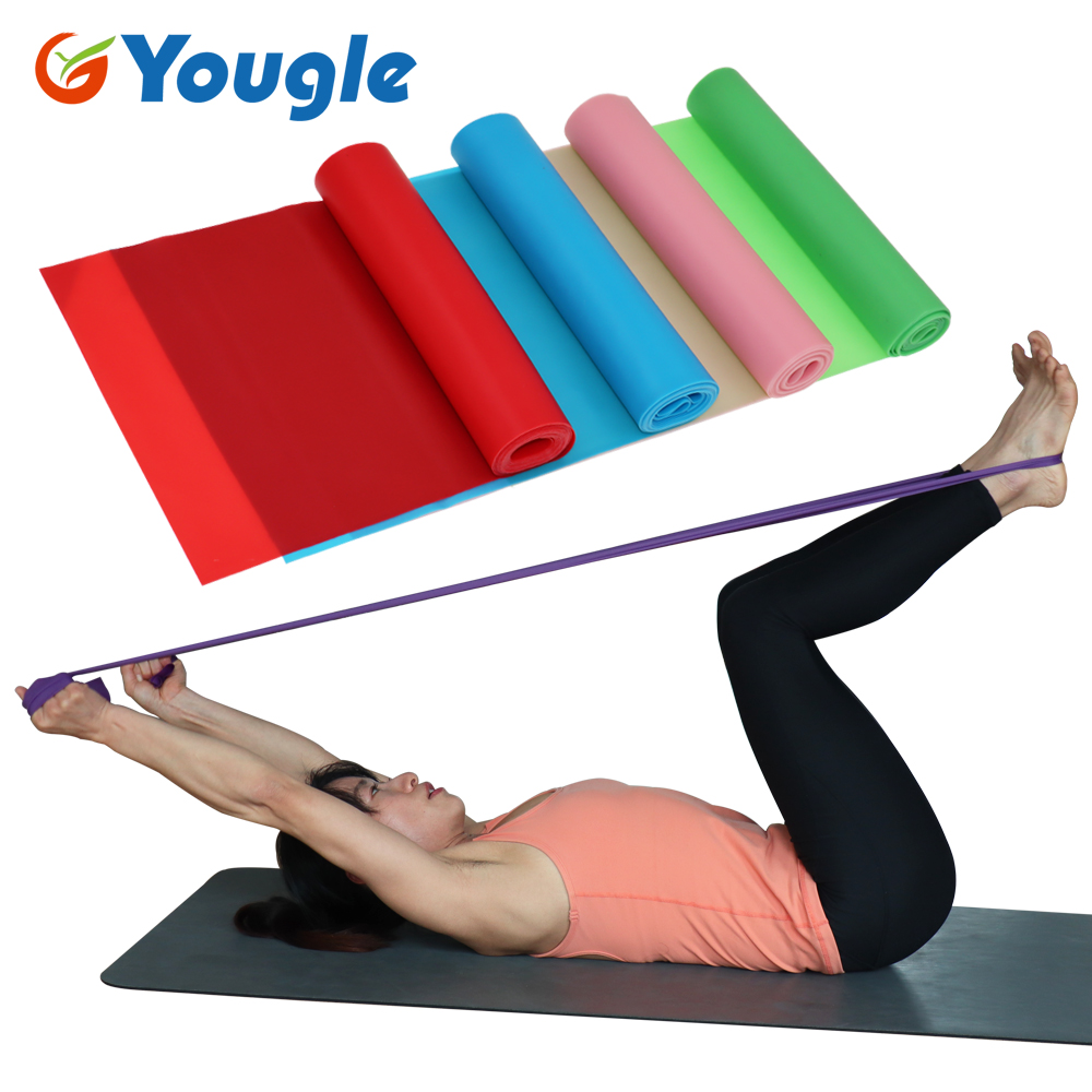 1.5m Yoga Pilates Stretch Resistance Band Exercise Fitness Band Training Elastic Exercise Fitness Rubber 150cm natural rubber image