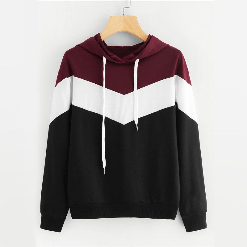 Cut And Sew Drawstring Color Block Hoodie For Women