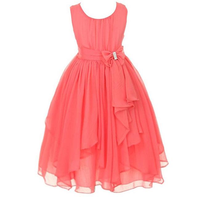 Vestidos de las muchachas 2017 Nueva princesa del verano vestido de la muchacha de los bebés chothes ropa ceremonia de la boda de dama de honor formal