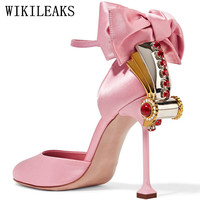 Fetish High Heels Wedding Shoes Woman Pumps Luxury Brand Butterfly Knot Rhinestone Women High Heels Sexy