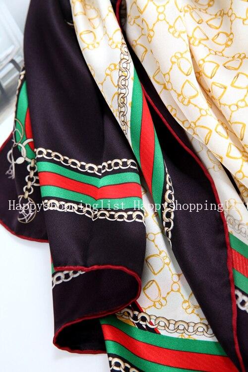 Elegante marca hecha a mano 100% crepe satén liso seda bufanda - 4