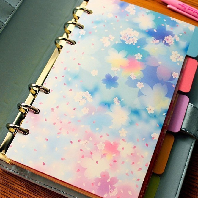 Harphia Separate Page A5 A6 Planner Divider Flower Series Creative Match for 6 Holes Loose Leaf Notebook Agenda Journals harphia 3 colors divider craft separate page white simple but good match for 6 holes loose leaf notebook agenda planner filofax