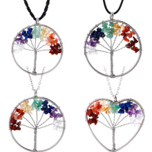 New  Jewelry Necklace Women Natural Crushed Stone Tree of Life Choker Crystal Fortune Undertale Pendant Chain Punk
