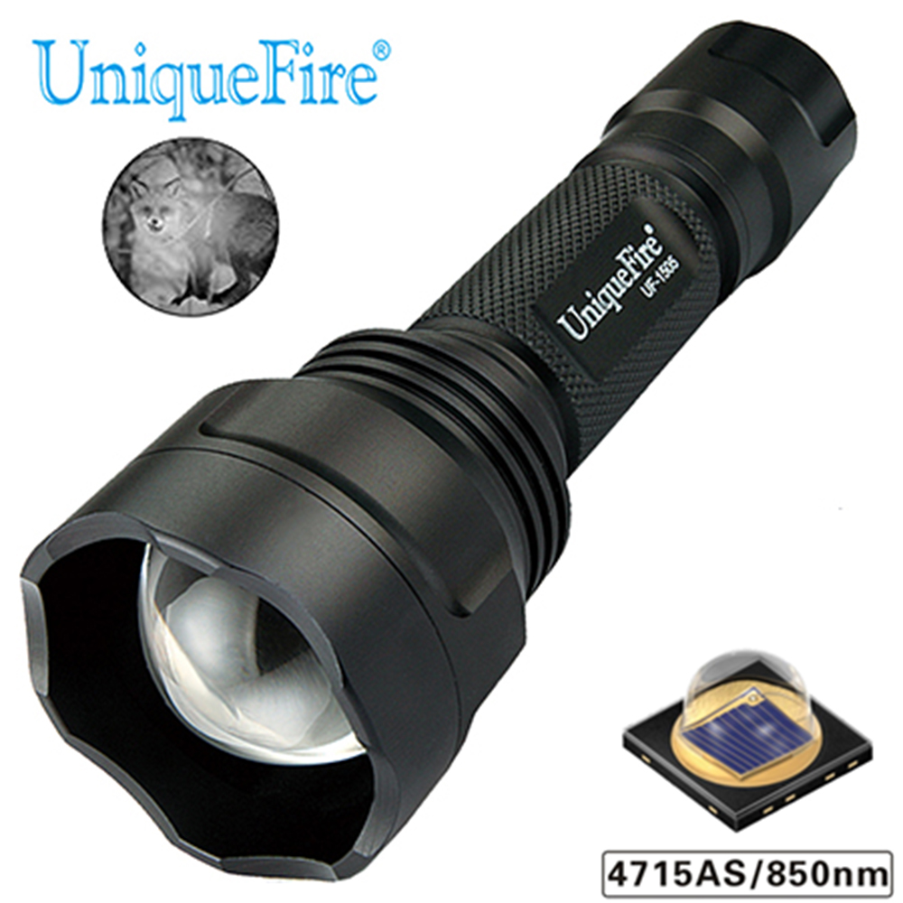 UniqueFire 1505 IR 850nm 4715AS lampe de poche à Vision nocturne lampe infrarouge Zoom 3 Modes torche T50 pour la chasse