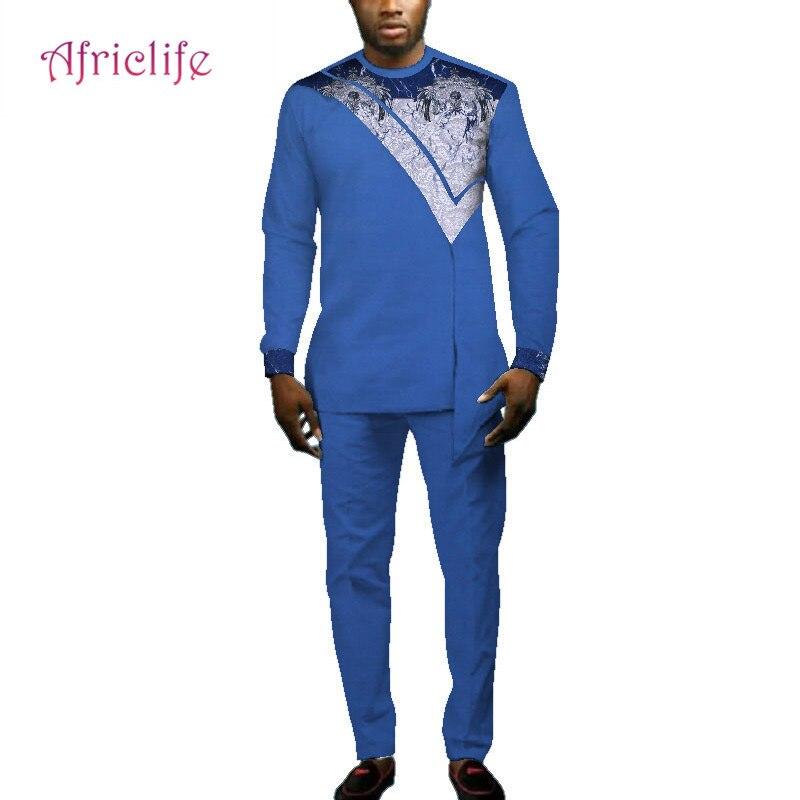 Décontracté hommes vêtements africains t-shirts et pantalons ensembles Bazin Riche conception africaine vêtements Dashiki hommes 2 pièces pantalons ensembles WYN693