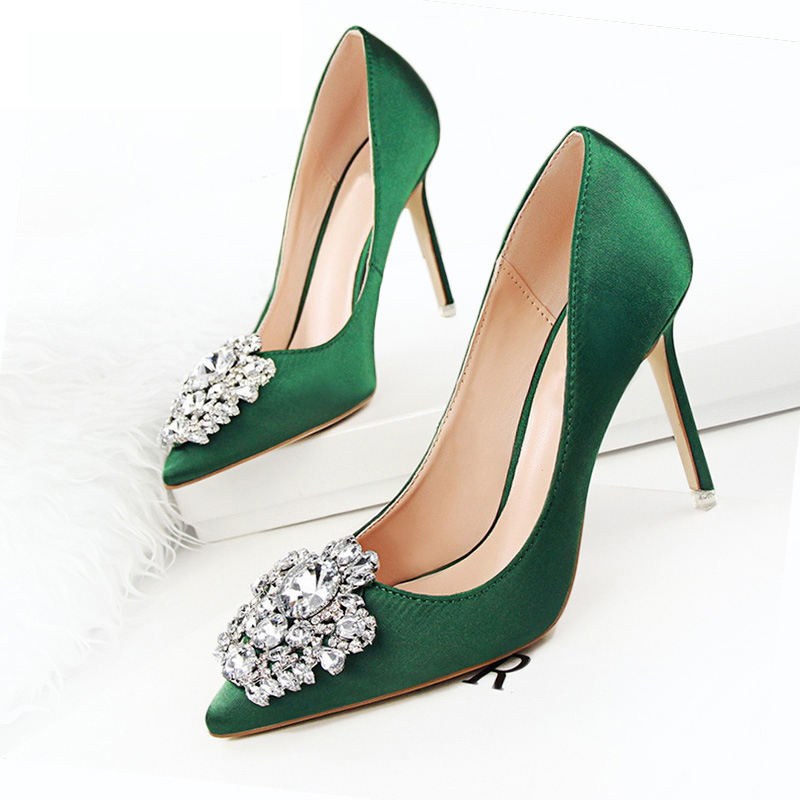 BIGTREE New Women Pumps Women Shoes Wedding Shoes Sexy High Heels Women Casual Shoes Women Fashion Crystal Bling Ladies Shoes