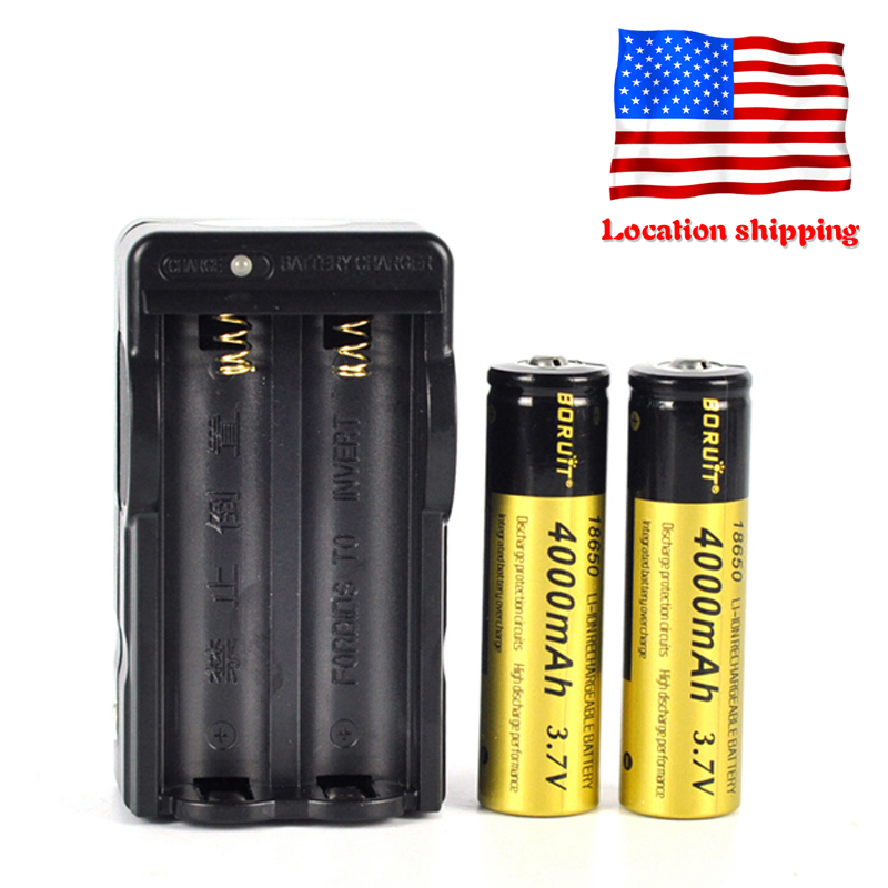 BORUiT New Original 2PCS 3.7v 4000mAh 18650 Lithium Rechargeable Battery + Charger For Flashlight Headlamp Shipping From US