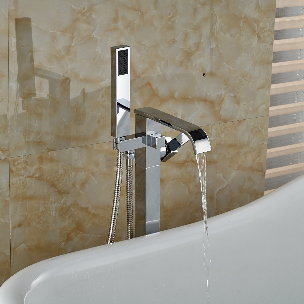 Chrome Finished Floor Wounted Shower Faucet Single Handle Mixet Tap ...