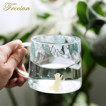 Креативная стеклянная кофейная кружка shaba Inu, 320 мл, милая кружка для чая с белкой, чашка для чая с лосем, термостойкая стеклянная пивная кружка, кофейная чашка, Прямая поставка
