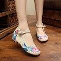 Лунный свет 2016 Цветок Лотоса Китайский Вышитые Обувь Холст Отдыха Женская Обувь