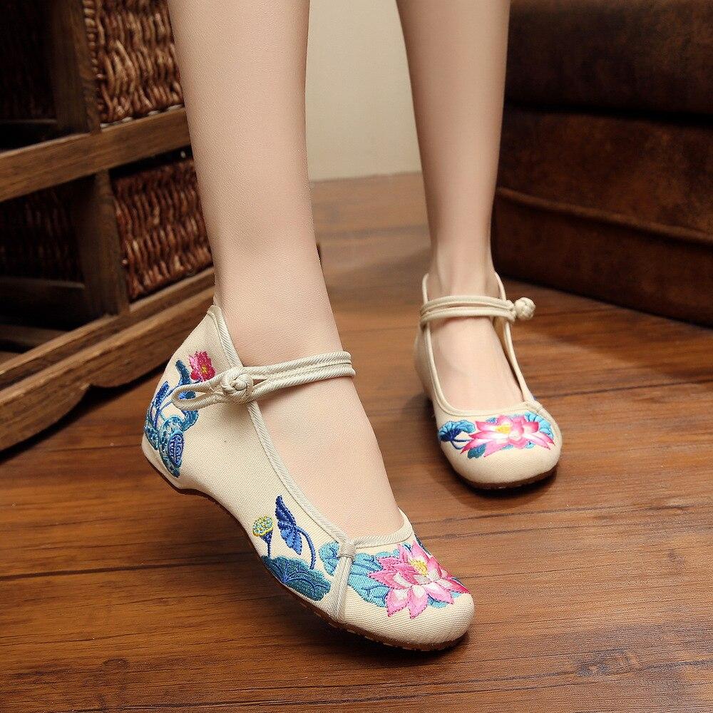 Luz De La Luna 2016 Flor De Loto Bordado Chino Zapatos De Lona Ocio Zapatos De Mujer En Calzado Vulcanizado Mujer De Zapatos