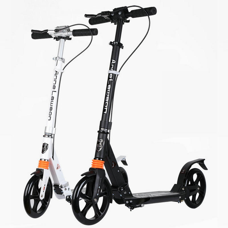 самокат двойной цена - Adult Scooter with double shock absorption, double brake and 20cm PU wheel adult foldable kick scooter