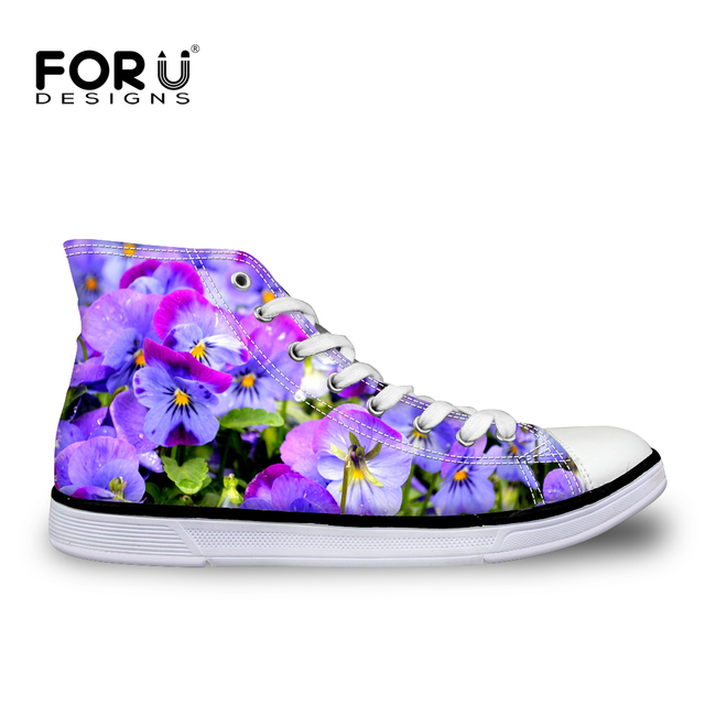 0e8352afeb2f9 US $29.99 25% OFF|FORUDESIGNS High Top Lace up Women Vulcanize Shoes Pretty  Flower Print Classic Female Flats Canvas Shoes Casual Women's Sneakers-in  ...
