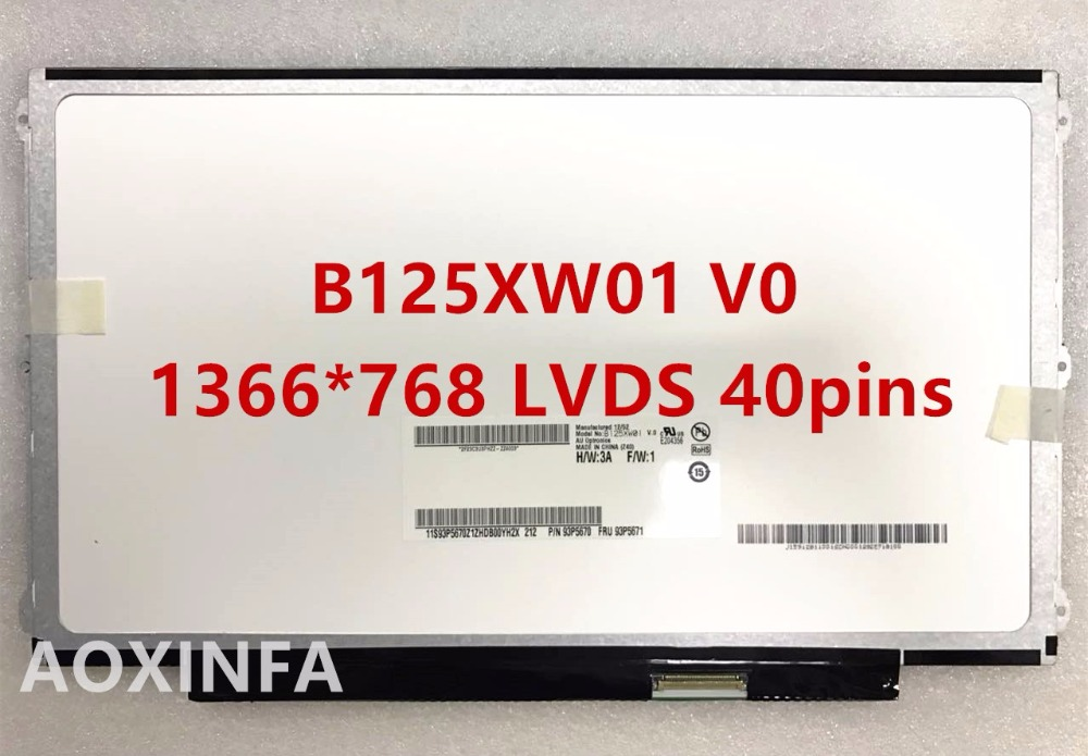 free shipping A+ B125XW01 B125XW01 V.0 LP125WH2 SLB1 LP125WH2 TLB1 LTN125AT01 LCD Screen for lenovo U260 U201 X220 X220I LED LCD led lcd screen for 13 3 lt133ee09300 n133bge lb1 b133xw01 v 3 v 2 not v 0 v 1 free shipping
