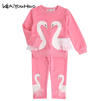 KEAIYOUHUO Winter Girls Tracksuits Costume Lovely Swan New Year Costumes T Shirt Pants 2pcs Kids Sport