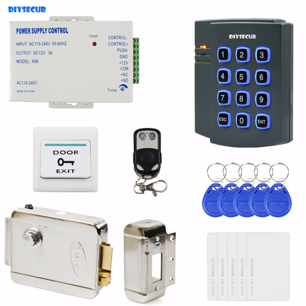 DIYSECUR Complete RFID Keypad Access Control System Kit + Electric Lock + Power Supply for House / Office diysecur w1 complete rfid access control system kit set electric door lock rfid cards power supply