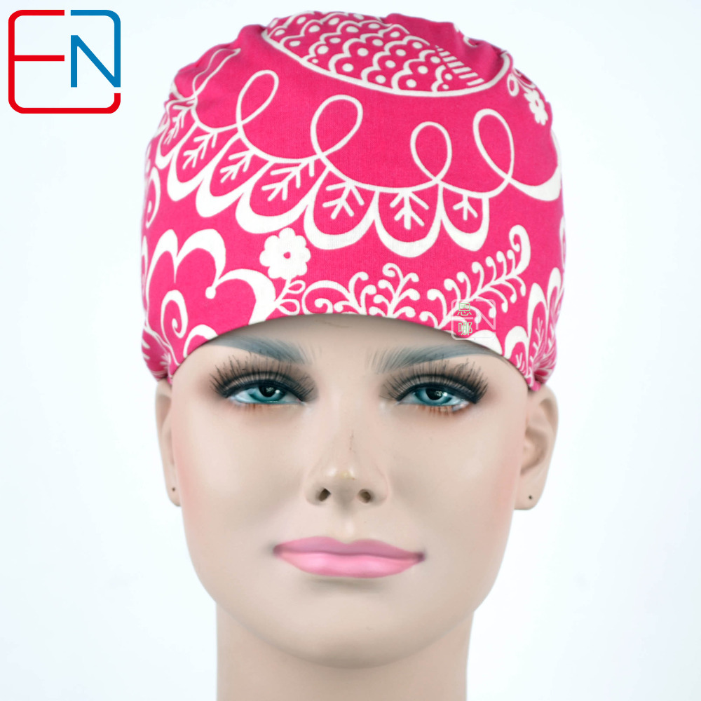 Hennar 2018 Hospital Surgical Cap Women 100% Cotton Red Printed Medical Clinic Caps Adjustable Medical Accessories For Women