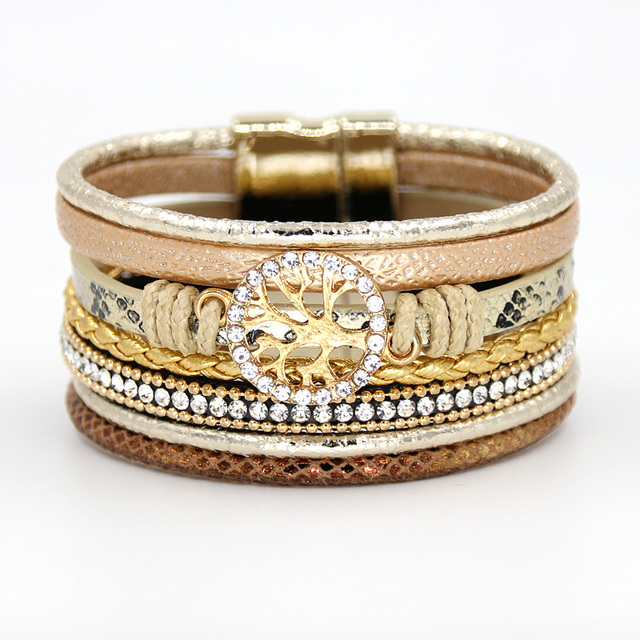 VONNOR Jewelry Bracelets for Women Multi-layer Leather Rope Rhinestone Alloy Accessories Magnet Clasp Bangle Bracelete Feminino 1