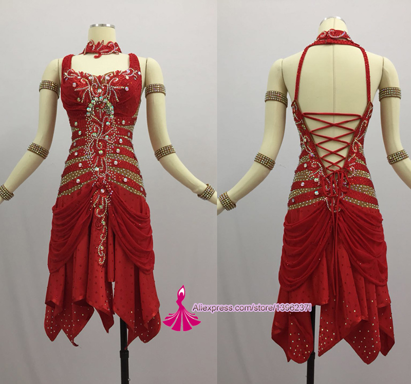 Latin Competition Dance Skirt Women 2018 New Design Sexy Sumba Rumba Dancing Dresses Adult Red Standard