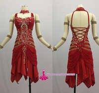 การแข่งขันละตินเต้นรำกระโปรงผู้หญิง2018การออกแบบใหม่เซ็กซี่Sumba R Umbaชุดเต้นรำผู้ใหญ่สีแดงมาตรฐานละตินชุด