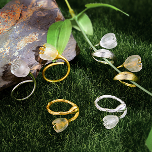 Image 3 - Lotus Fun Real 925 Sterling Silver 18k Gold Ring Natural Crystal Handmade Fine Jewelry Lily of the Valley Flower Rings For Women