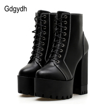 Gdgydh Fashion Women Ankle Boots High Heel 2019 Autumn Thick High Heels Shoes Casual Round Toe Platform Boots Woman Promotion цены онлайн