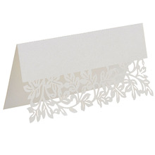 50pcs lot Laser Cut Leaf Table font b Name b font font b Cards b font